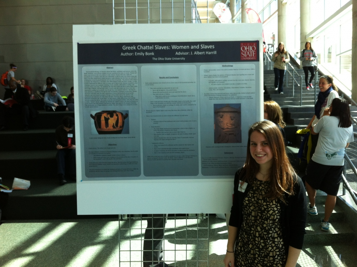 Photo of Emily Bonk at the Denman Undergraduate Research Forum