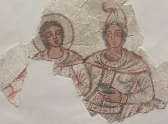 'Sol and Mithras in a fresco from early third century CE Dura Europos (Syria); now in the Yale University Museum of Art.
