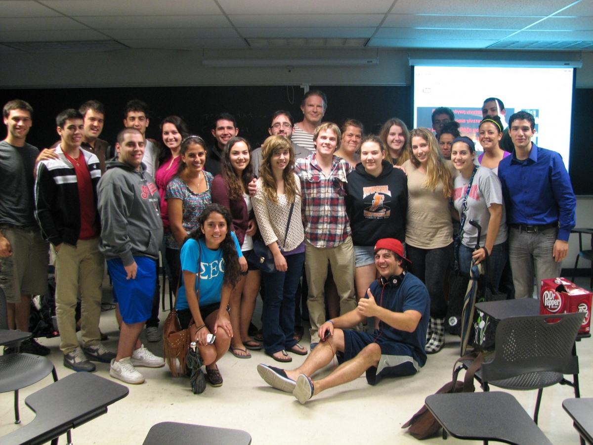 Dr. Christopher Brown and Modern Greek students at the 2012 Spring Modern Greek Party