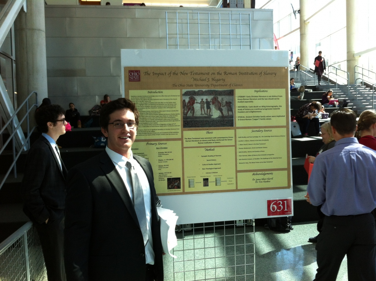 Photo of Mike Hegarty at the Denman Undergraduate Research Forum