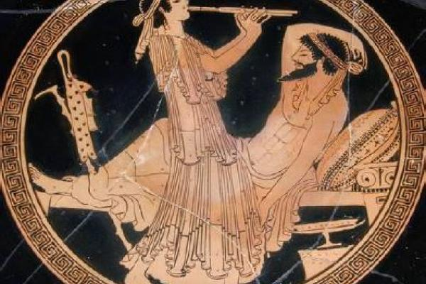 Scene of two people from a Greek vase