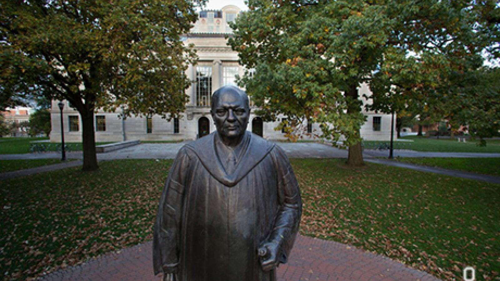 Statue in Front of Thompson Library on Oval Mall